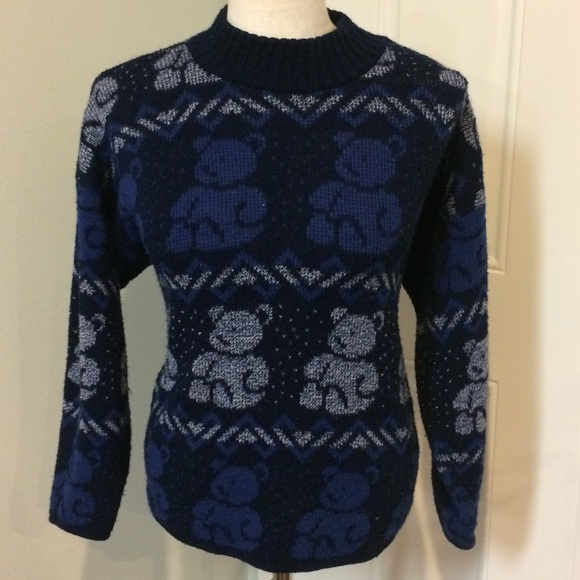 Vintage Sweaters Teddy Bear Sweater Navy Blue Knit Oversize Poshmark